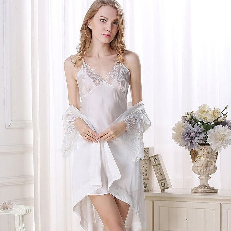 19 Momme Mulberry Silk Nightgown and Robe Set For Women 0b7ddc741
