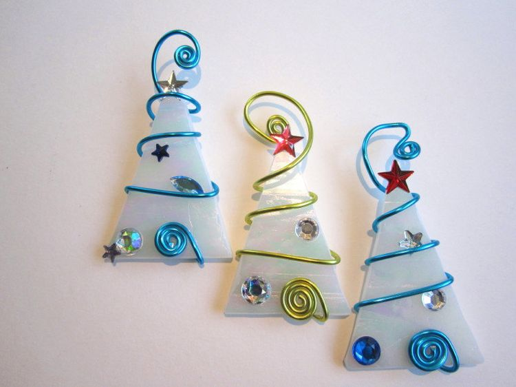 Ice Tree Trio Glass Ornaments Wire Wrapped   Via Etsy