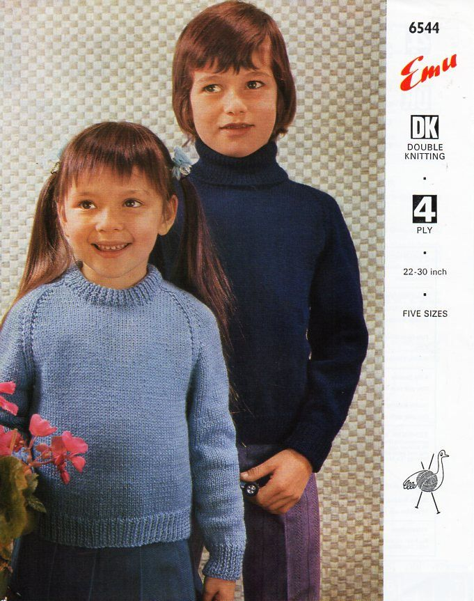 33559a1d8 vintage childs   childrens 4ply or DK sweaters knitting pattern PDF polo  neck jumper crew 22