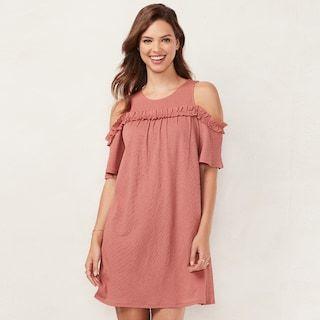 e6635e21517de5 Women's LC Lauren Conrad Ruffle Cold-Shoulder Dress | Kohls