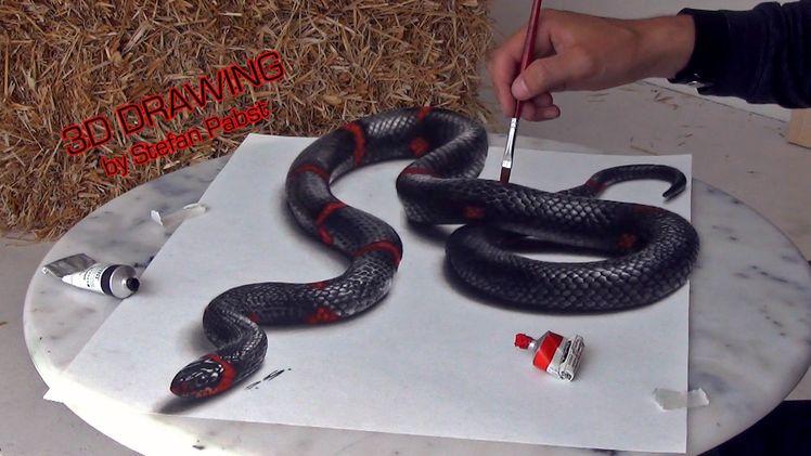 Desenhos e pinturas de ilusões de ótica 3D