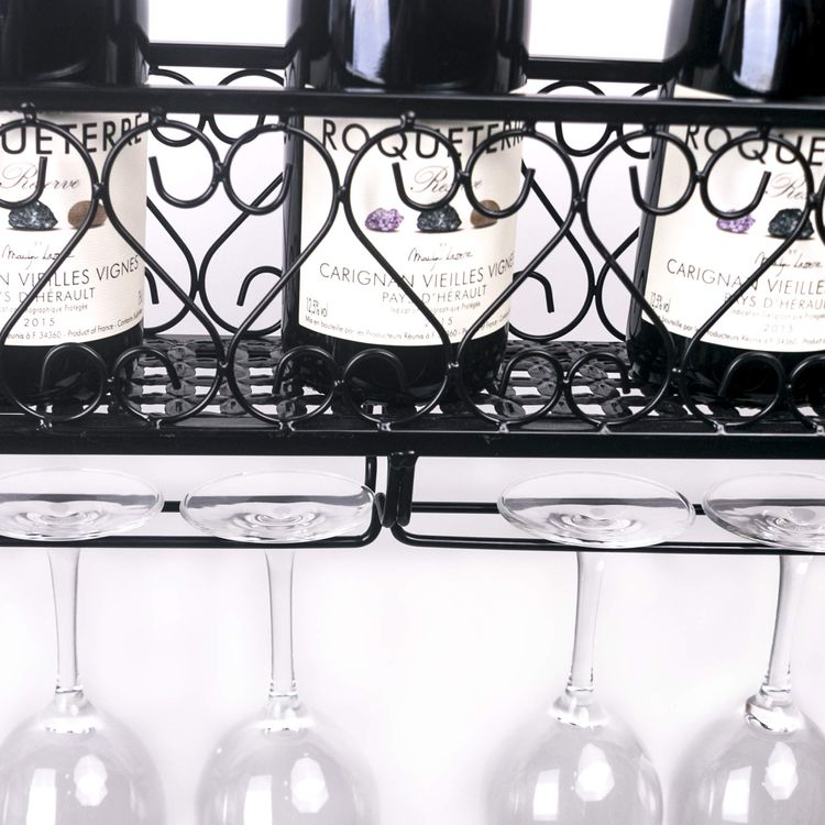 Hynawin Wall Mounted Wine Rack Organizer Hanging Bottle Gl Holder Storage Shelf For Red White Champagne Check Out This Great Product