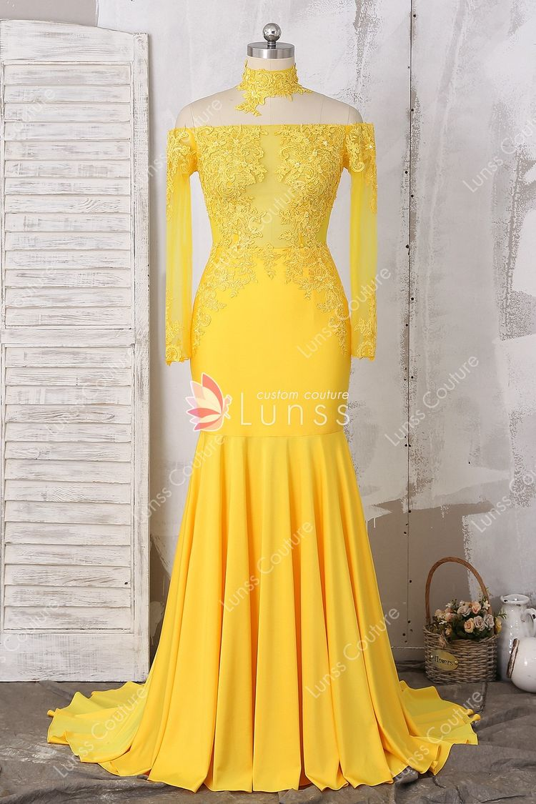 3086b85f7e4e4 Bright Yellow Sheer Long Sleeve Off-the-shoulder Lace Jersey Mermaid Long  Prom Dress