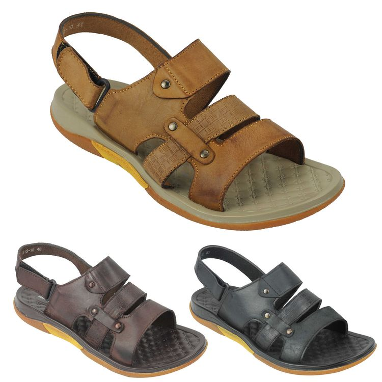 Mens Brown Black Real Leather Sandals Open Toe Adjustable Strap Size 6 7 8 9 10