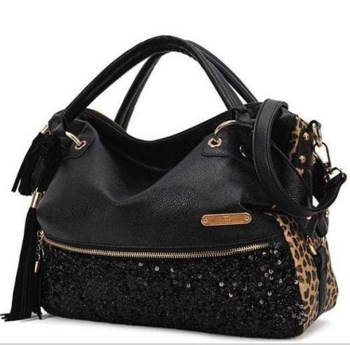 Ladies Black Leather Handbag New Tote Designer Style Celebrity Shoulder Bag 6c6fdcd0eb