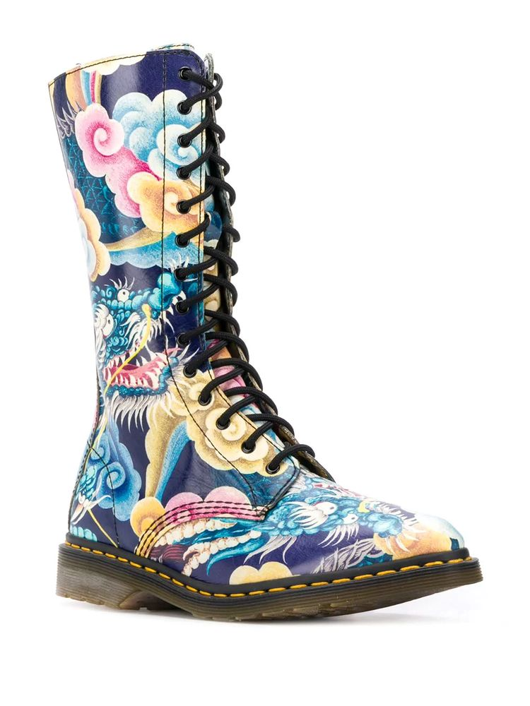 Yohji Yamamoto Pre-Owned x Dr. Martens 2000s Japanese Print Combat Boots