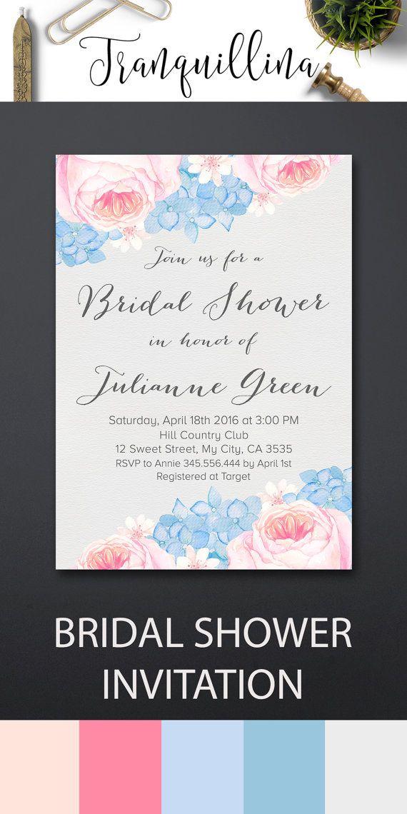 watercolor bridal shower invitation printable floral bridal shower invitation rose quartz serenity hydrangea bridal invitation pink blue bridal shower