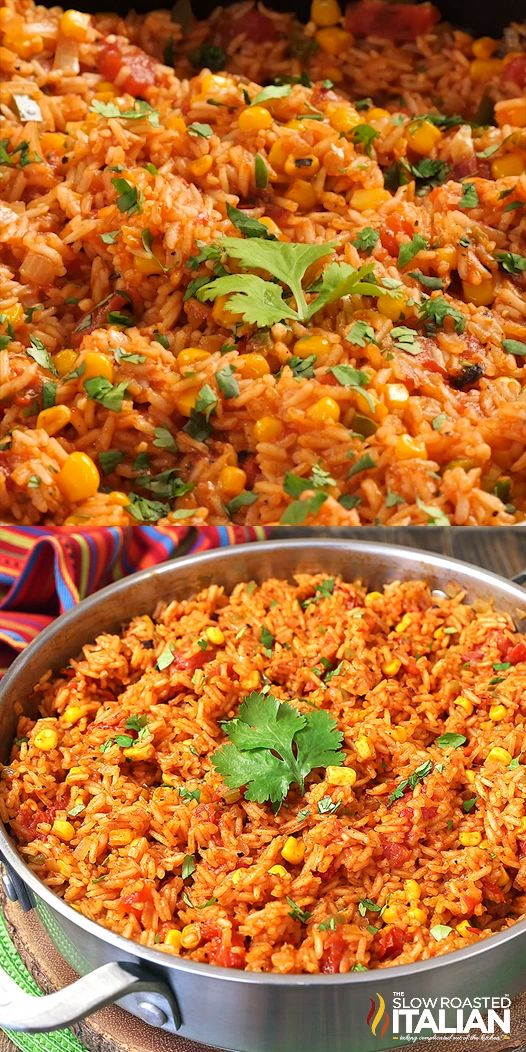 Restaurant-Style Mexican Rice is a simple recipe that is exploding with flavor! With a rich tomato base and just the right amount of jalapeños, tomatoes and corn it's the best Mexican Rice ever! #mexicanrice #tacotuesday #healthydinnerrecipes