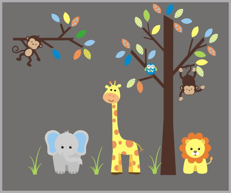 Wall Decals Nursery Safari Animal Stickers Art Nurseries Removable And Reusable Nature Mural 74 X 95