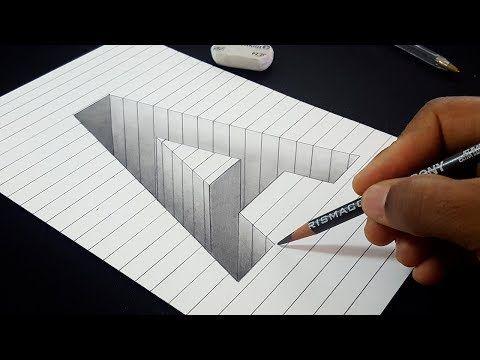 Desenho Fácil!  Como desenhar letra 3D Hole Uma forma em papel de linha |  Arte 3D para crianças