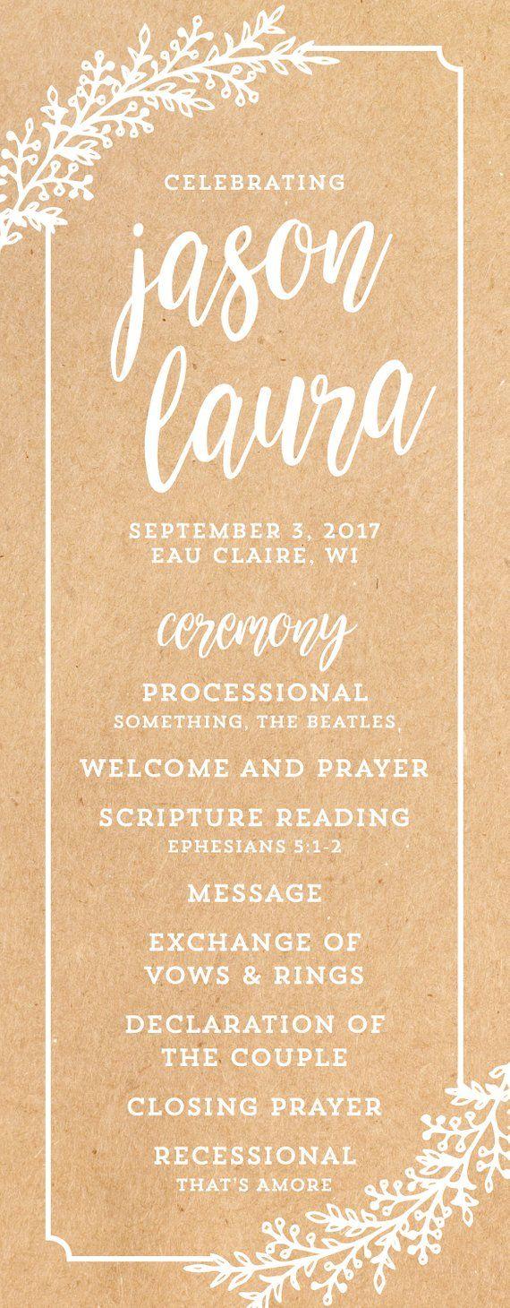 Wedding Program Order Of Service Kraft Paper Rustic Printable
