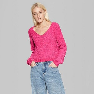 4dbc93df5992 Women s Long Sleeve V-Neck Chenille Pullover - Wild Fable Xxl Hot Magenta  Pink