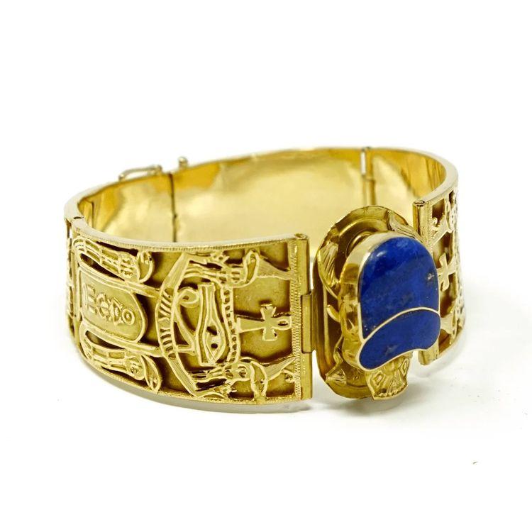 d910a7dcc Vintage Egyptian revival 18k gold lapis lazuli scarab bracelet. #vintage  #egyptian #bracelet