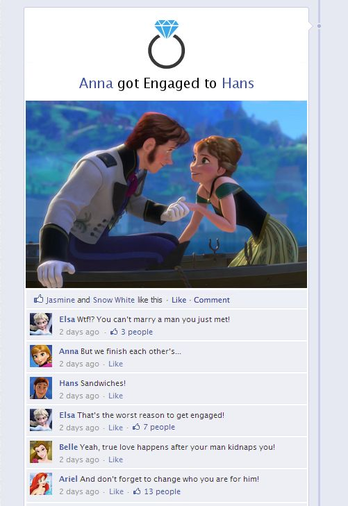 Frozen Told Through Facebook Because everyone knowsFacebookis the best place for telling fairy tales. Clickherefor more.