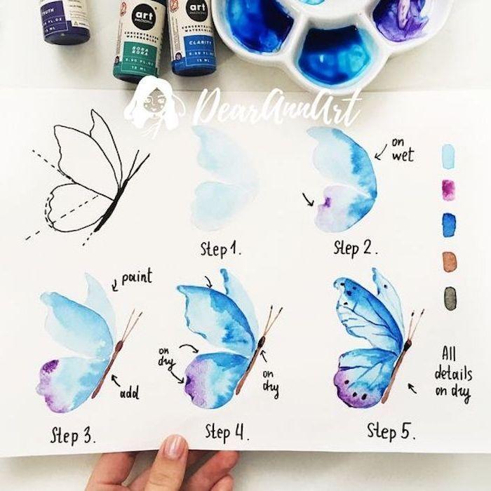 Schmetterling zeichnen lernen, Anleitung in fünf Schritten für Anfänger, Malideen für Kinder und Erwachsene #aquarell #watercolor °
