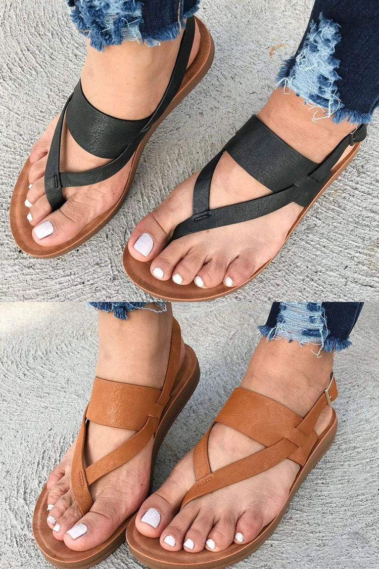 b7eb573c4e2d Casual Buckle Flat With Thong Western Sandals