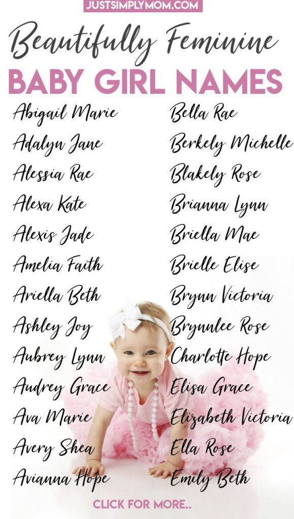 68 Feminine Baby Girl First and Middle Names for 2019 - Just Simply Mom