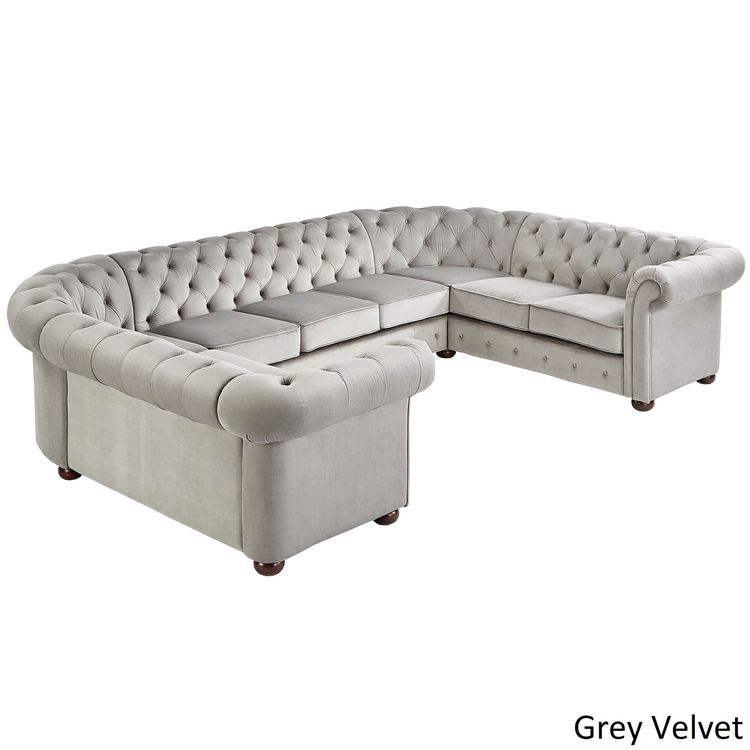 Knightsbridge Tufted Scroll Arm Chesterfield 9 Seat U Shaped Sectional By Inspire Q Grey Velvet Bonded Leather