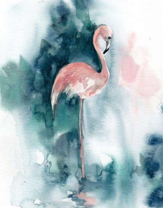 Pink flamingo and emerald green background, flamingo fine art print, flamingo watercolor painting ar