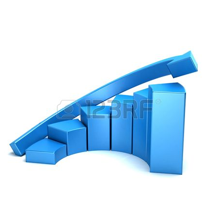 Business growth curved bars and arrow graph. 3D rendering illustration