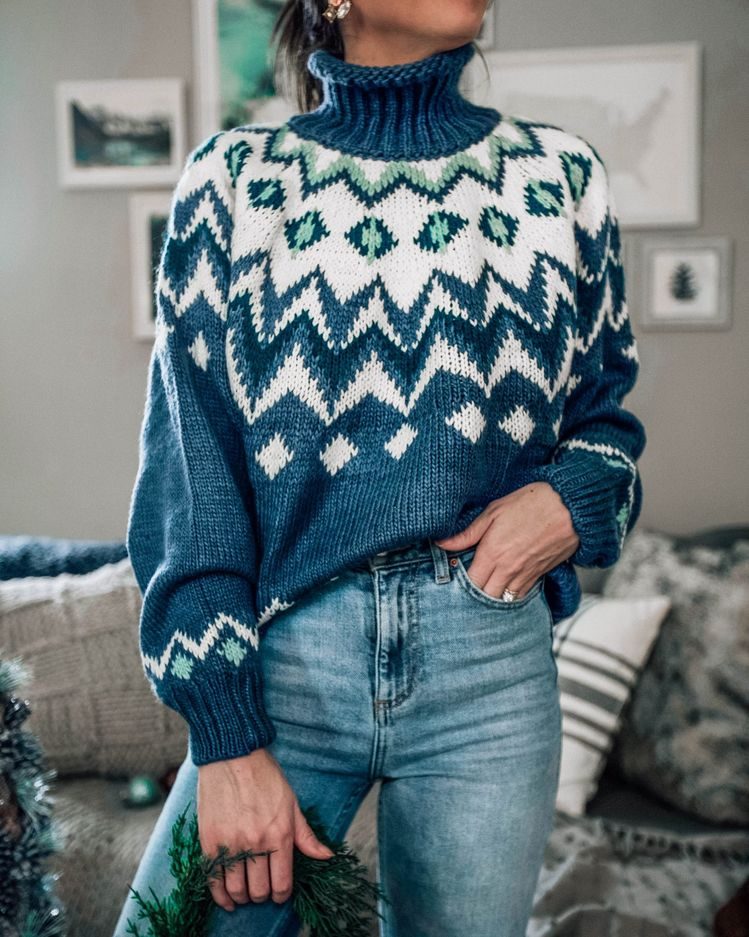 fair isle turtleneck holiday winter sweater, casual outfit