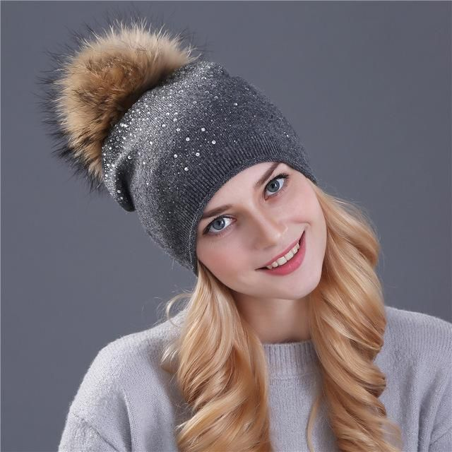 38934f58b2b01 Item  Rhinestone Pom Pom Beanies Gender  Women Department Name  Adult  Material  Fur Share. Women Winter Pom Pom Rhinestone Cap ~ Fur Wool Knitted  Beanie