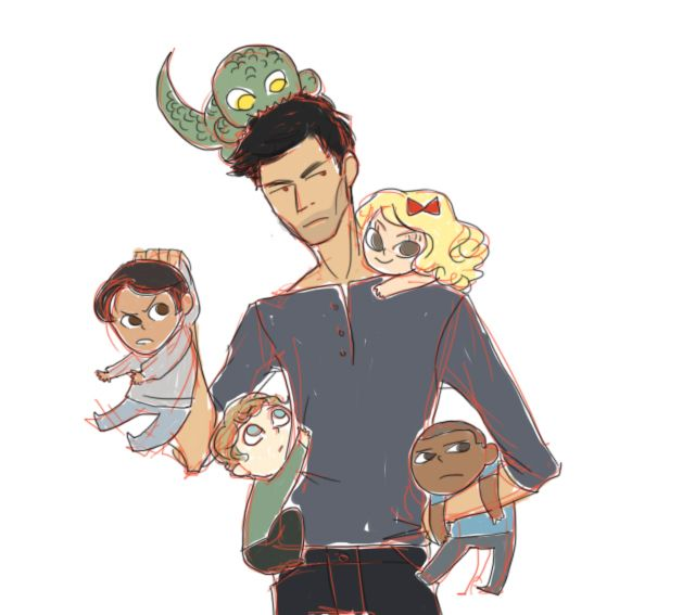 Derek and his puppies.  #ANNOYED SCOTT#KANIMA JACKSON#BOW IN HER HAIR ERICA#CLINGY BABY ISAAC#DISTANT BOYD#THIS IS MY FAVORITE PICTURE ON THE INTERNET