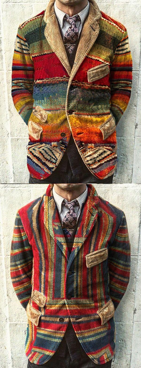 Fashion Casual Rainbow Printed Corduroy Jacket