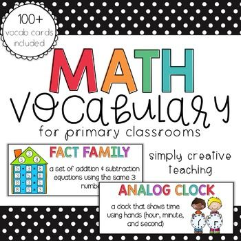 Editable Math Vocabulary Cards For First Second Grade Wo
