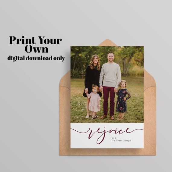 printabledigital rejoice christmas card with photoholidaynew