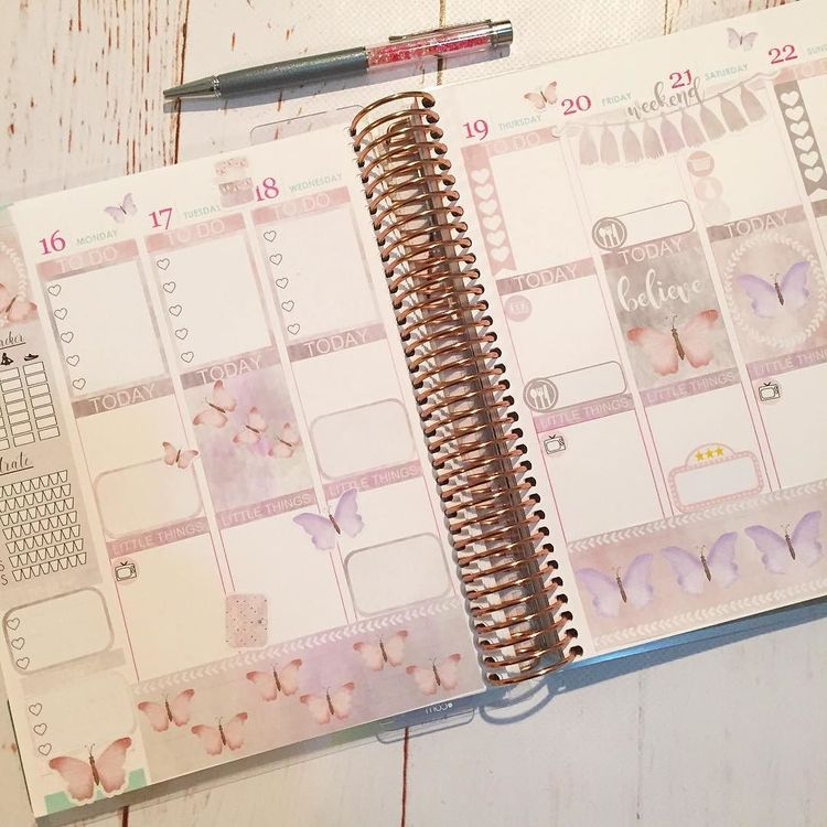 And The Set In The Planner Watercolorstickers Butterfly
