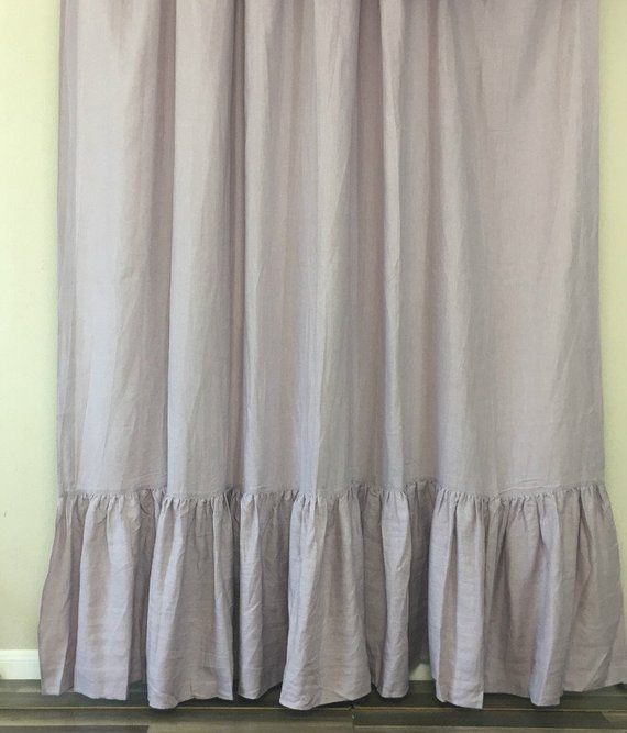 Orchid Linen Shower Curtain With Mermaid Long Ruffles Sophisticated Lavender Purple Custom