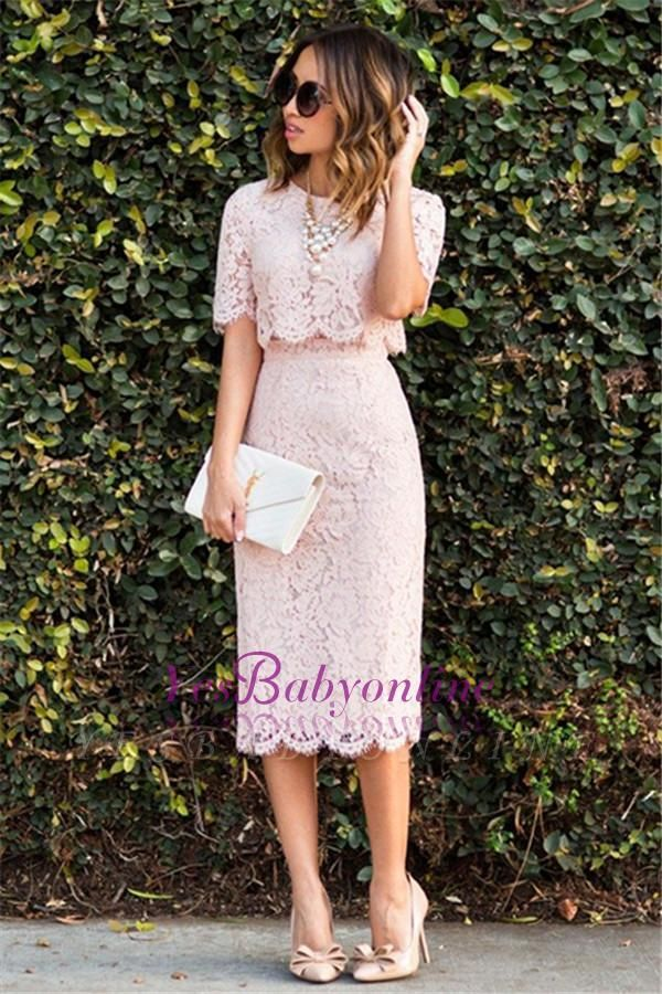 Lace Cute Pink Short-Sleeve Fashion Two-Piece Homecoming Dresses