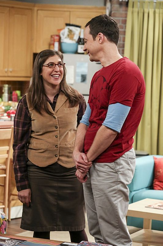 """The Property Division Collision"" -- Pictured: Amy Farrah Fowler (Mayim Bialik) and Sheldon Cooper (Jim Parsons). Sheldon and Leonard try to divvy up their shared belongings, but can't agree on anything. Also, Koothrappali and Stuart fight to be the most helpful during Bernadette's final weeks of pregnancy, on THE BIG BANG THEORY, Thursday, Dec. 1 (8:00-8:31 PM, ET/PT), on the CBS Television Network. Christopher Lloyd guest stars as Theodore. Photo: Michael Yarish/Warner Bros. Entertainment I..."