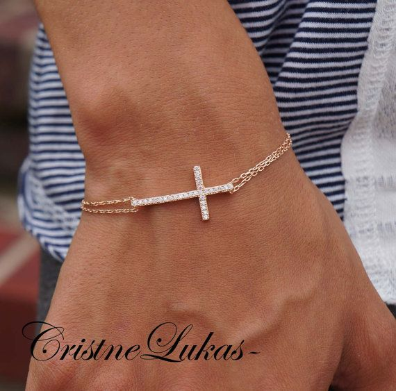 Celebrity Style Sideways Cross Bracelet With Cz Stones Double Chain 14k Rose Gold Sterling Silver