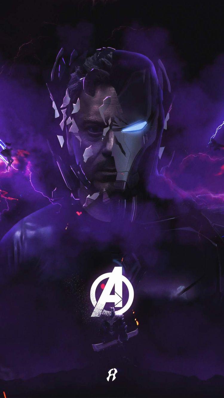 Iron Man Endgame Purple IPhone Wallpaper