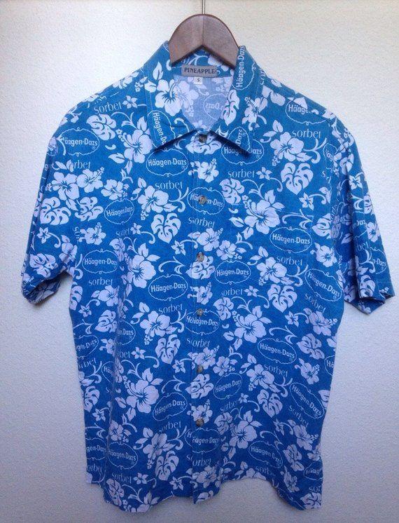 aa0402ec Vintage blue floral Hawaiian shirt Haagen-Dazs ice cream, hibiscus print blue  Aloha shirt, tiki oasis rare vtg, men M medium L large 44 gift