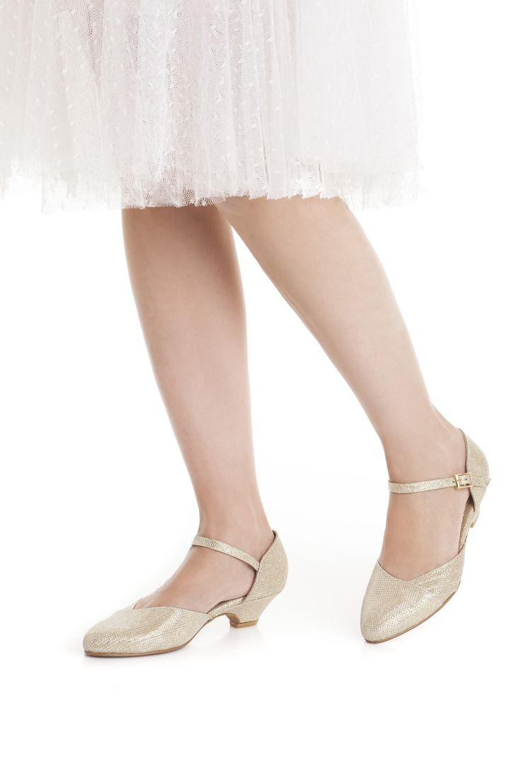 3e3bb192f7662 Blanche Bridal Shoes, The Romantic Sparkly Gold Low Heeled