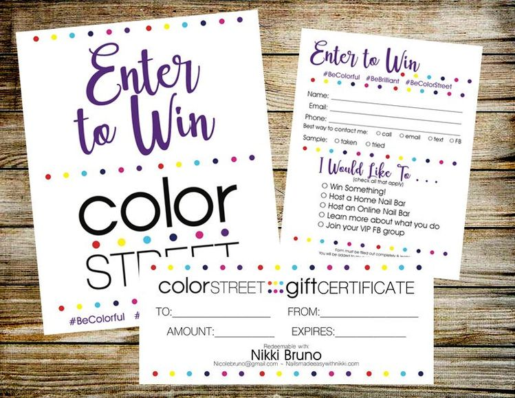 color street enter to win door prize drawing slip r