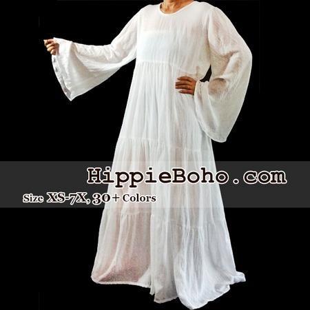 f99635b6dcd No.326 - Size XS-7X Hippie Boho Bohemian Gypsy White Long Sleeve Plus Size  Sundress Tiered Peasant Full Skirt