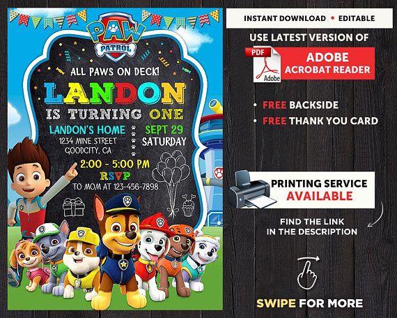 Paw Patrol Birthday Invitation Instant Download Party Ed