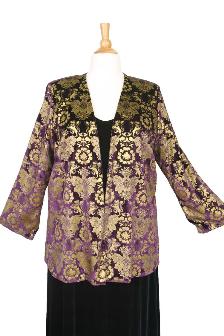458cfe14c4a Plus Size Special Occasion Dressy Blazer Jacket Black Stamped Gold Silk  Velvet Size 18 20