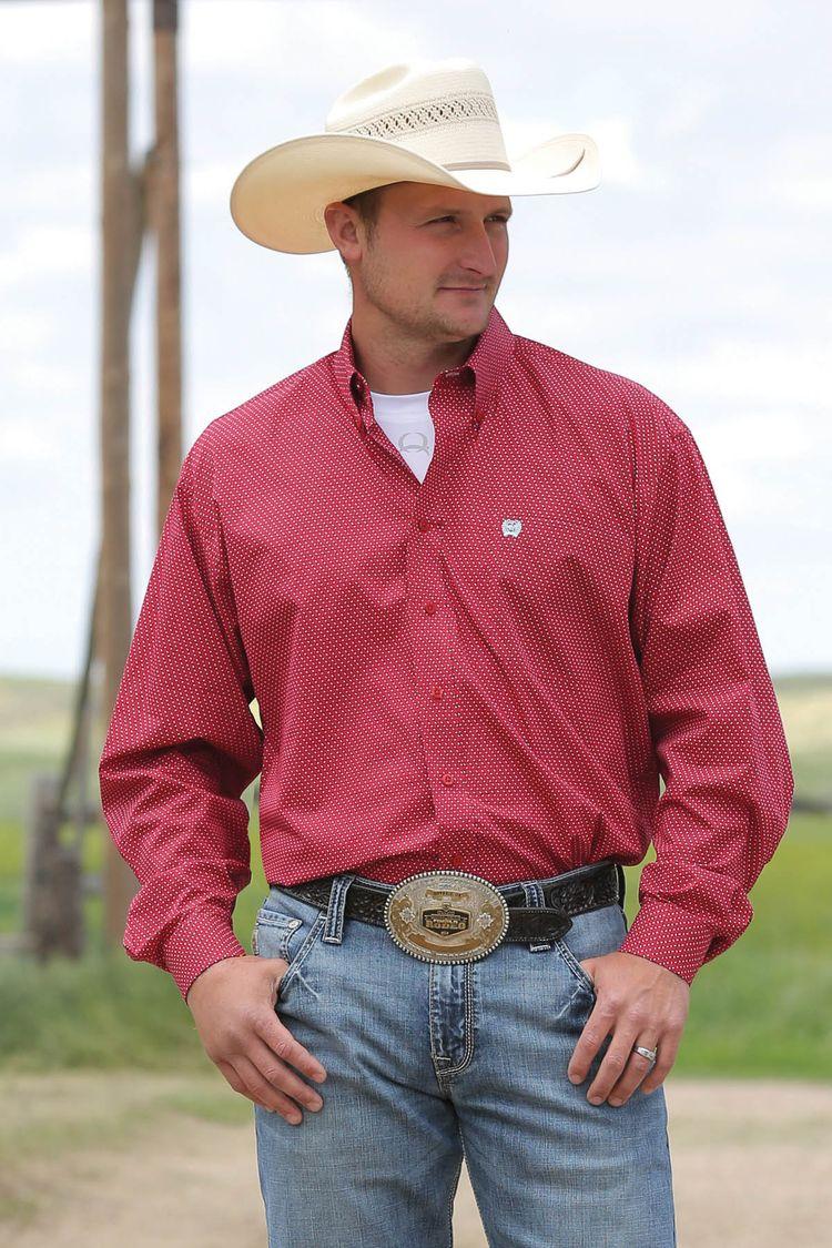 508537c4 Cinch Men's Red Geo Print Long Sleeve Button Down Shirt