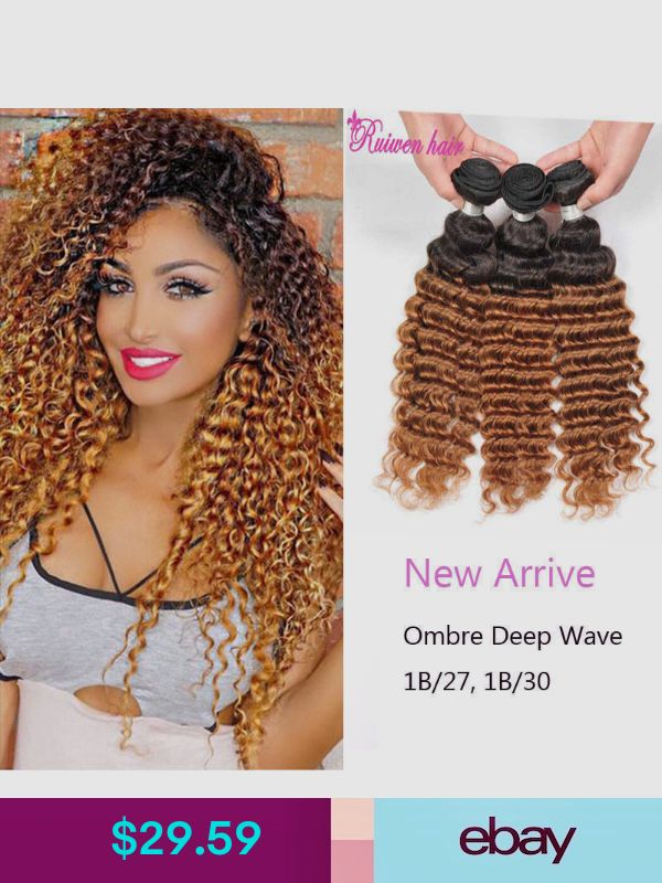 Two Tone Deep Curl Ombre Hair Weaves Brown Color 1b27 1b