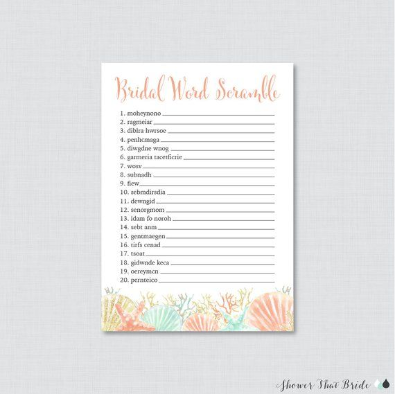 nautical bridal shower word scramble printable beach themed bridal shower game coral and aqua br
