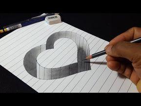 Como desenhar 3D Hole Heart Shape - Desenho Truque Fácil