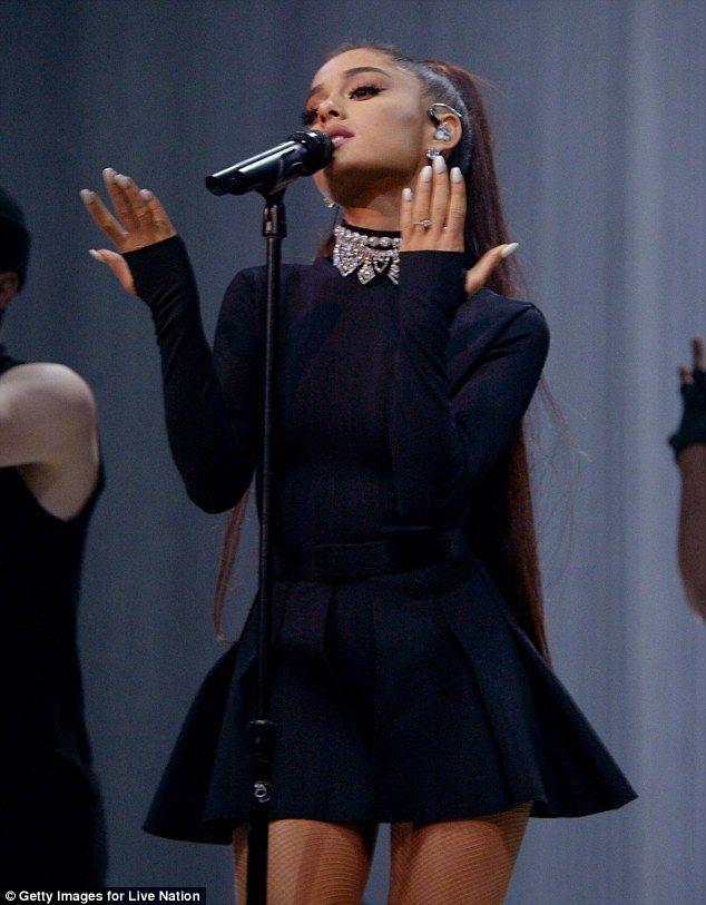 9d93e6972a6 Ariana Grande in bra and skirt as she kicks off Dangerous Woman Tour