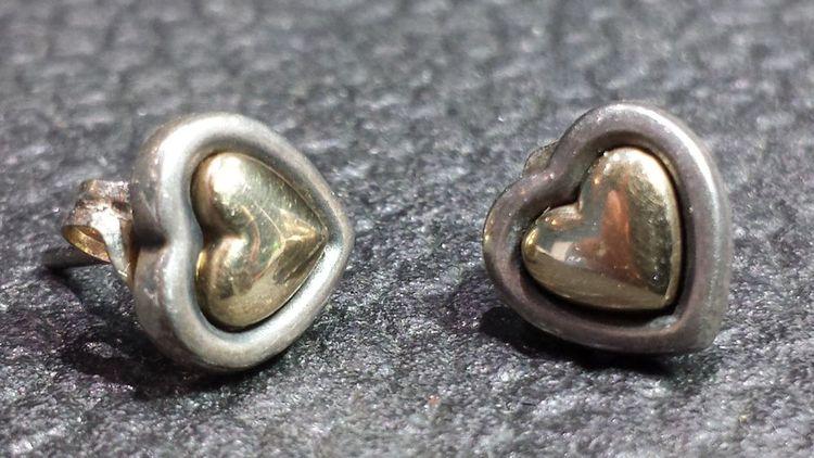 d605bfcec RETIRED!! James Avery Sterling Silver & 14k Gold True Heart Earrings Posts  Studs