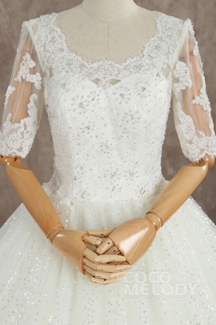 be009ad870d8 Charming Ball Gown Scoop Natural Train Tulle Ivory Half Sleeve Wedding Dress  with Appliques B14TB0056 #