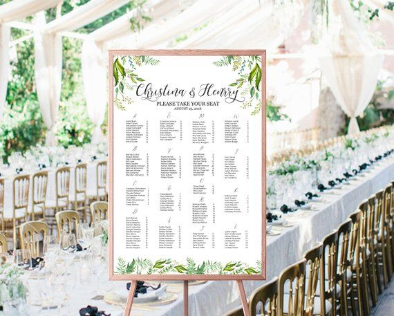 greenery wedding seating chart template editable seating
